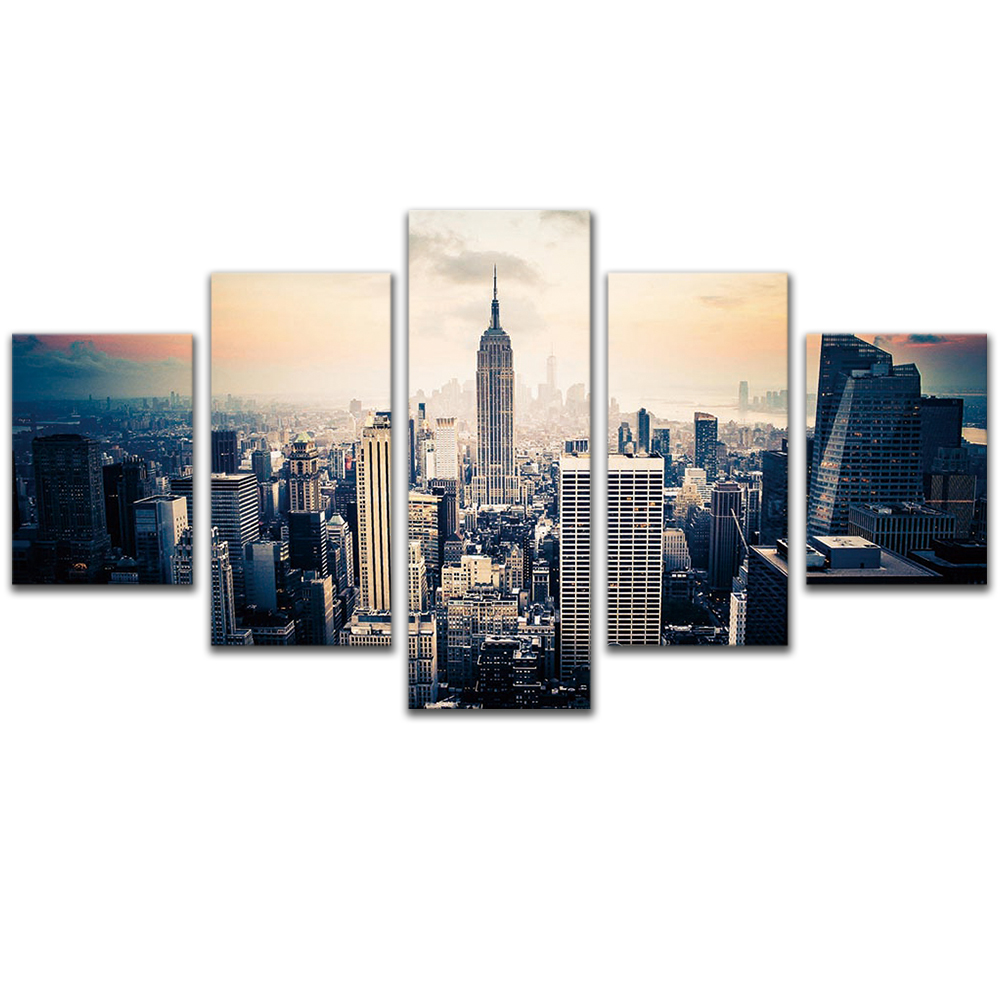 Unframed Canvas Painting Empire State Building Skyscrapers Photo Picture Prints Wall Picture For Living Room Wall Art Decoration