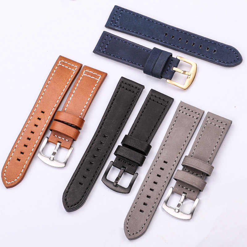 Hengrc pulseira de couro genuíno preto azul cinza marrom pulseira de relógio de couro para mulheres 18 20mm 22mm 24mm faixa de pulso