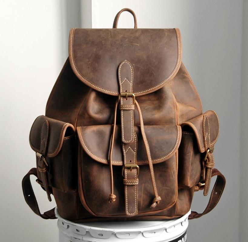 Vintage Crazy Horse Genuine Leather Backpacks Men's