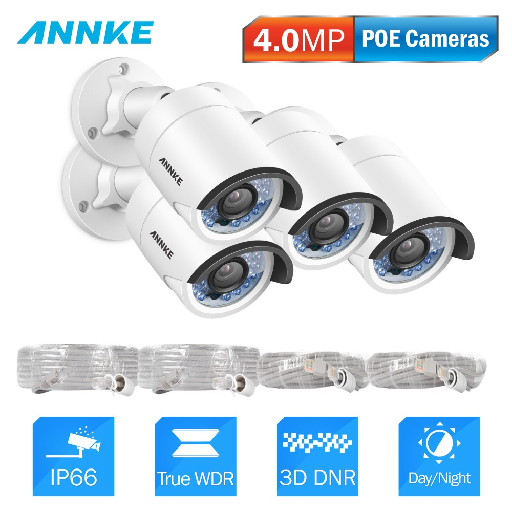 ANNKE 4pcs Cameras PoE DNR HD 4MP IP Camera Set font b Outdoor b font IP66
