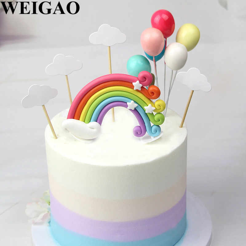 WEIGAO Rainbow Cloud Shape Cake Decoration Birthday Topper Set Happy Toppers For Kids