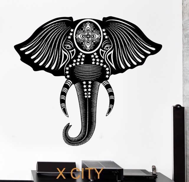 Totem Elephant Cool Tribal Ornament Black Wall Art Decal Sticker Removable Vinyl Transfer Stencil Mural Home