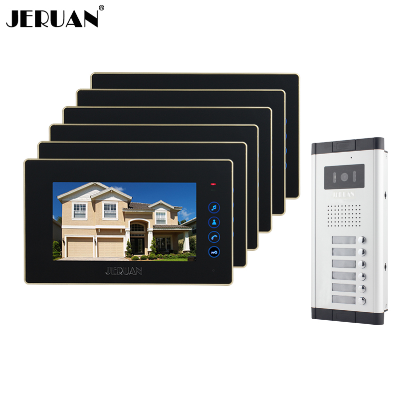 JERUAN Brand New Apartment Intercom 7 inch LCD Touchkey Video Door Phone Doorbell intercom System for 6 house 1V6 FREE SHIPPING 3m h6p3e cap mount earmuffs hearing conservation h6p3e ultra light with liquid foam filled earmuff cushions e111