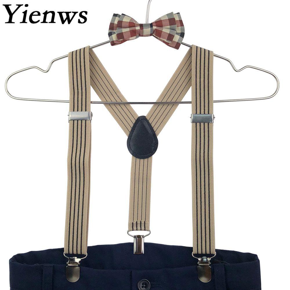 Yienws Suspensorio Baby Boys Suspenders Bow Tie Striped Plaid Vintage Braces BowTie Elastic Strap Suspenders Children YiA121