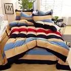 Conjunto de ropa de cama de lujo de tela de aumento gruesa ropa de cama suave edredón/edredón cubierta de sábanas de cama de 4 piezas juegos de cama