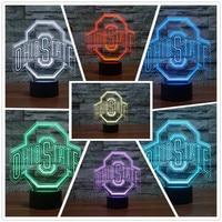 Drop Ship OHIO STATES Football Helmet Sport Club Team Logo LED Light 7 Colors Changing Table