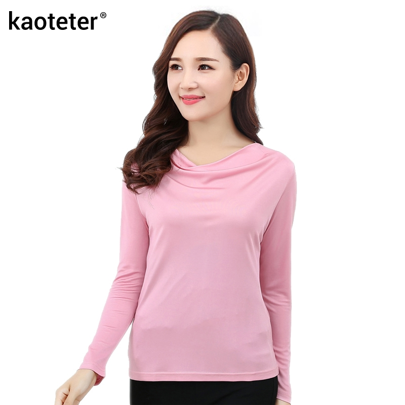 100% Pure Silk Womens T-shirts Femme Long Sleeve Loose Cowl Collar Wome Casual Tees T Shirt Tops Female Woman T-shirt Female