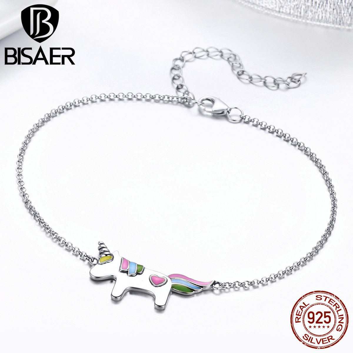 BISAER Authentic 925 Sterling Silver Enamel Stick Figure Licorne Animal Chain Link Bracelet for Women Fashion Jewelry GXB077