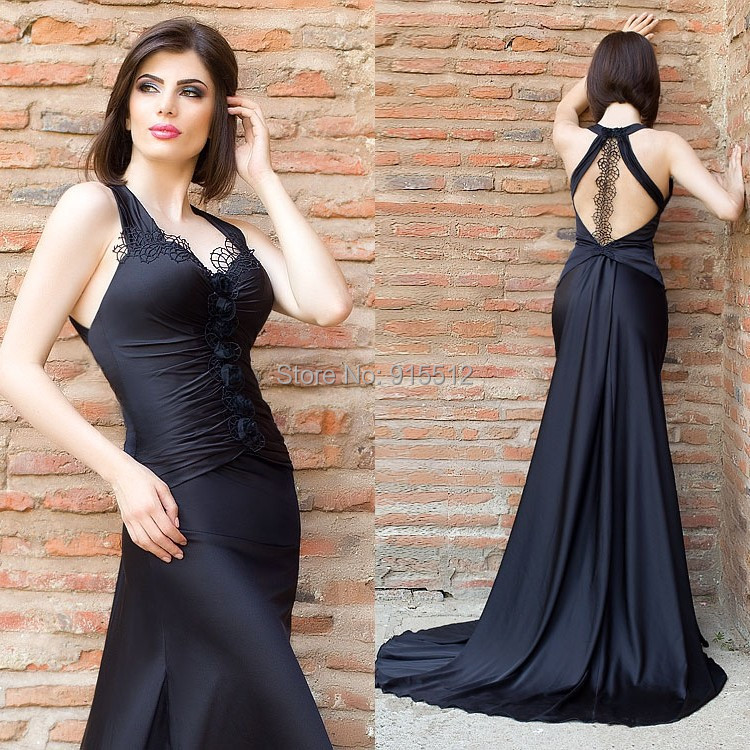 Free Shipping V Neck Halter Black Color Aliexpress Robe De Soiree