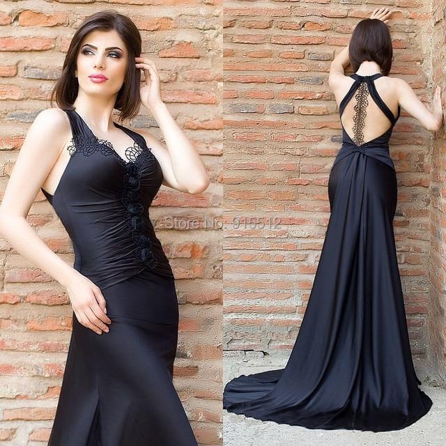 Free Shipping V Neck Halter Black Color Aliexpress robe de soiree ...