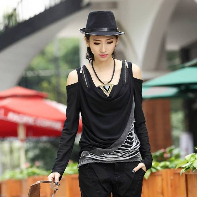 #3049 Sexy с плеча топ Модная одежда 2016 Джинсовой длинным рукавом футболка женщины Punk Rock Женщины рубашки Camisetas mujer