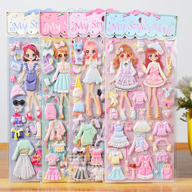 1pcs Stickers Lovely Cartoon Girls 3D Kawaii Sticker Book Laptop Dress Up Stickers Kids Toys Pegatinas For Children Girl Gifts