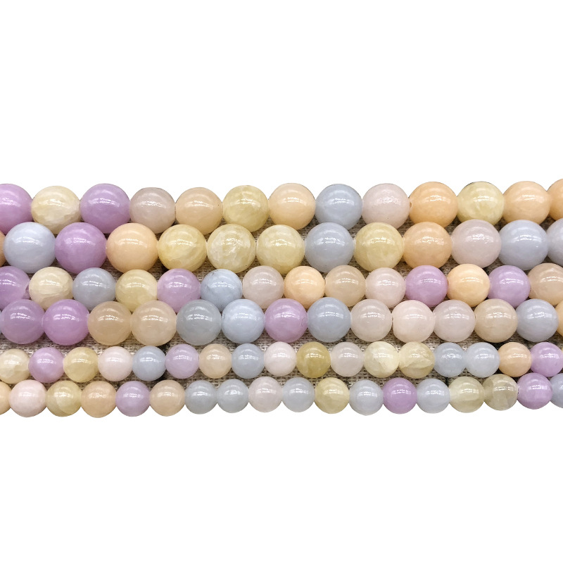 6mm 8mm 10mm colorful natural stone beads morganite stone round loose beads for jewelry making diy bracelet necklace