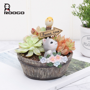 Image 3 - Roogo American Style Flower Pots Resin Flowerpot For Home Garden Decoration Wood Bonsai Pot Succulents Plants Orchids Cactus