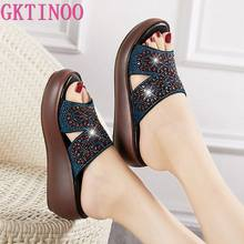 GKTINOO Genuine Leather Slippers Women's Shoes Summer Platform Sandals Rhinestone Casual Wedges Slippers Slides(China)