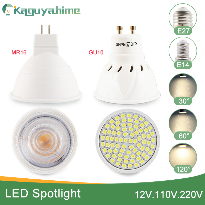 Kaguyahime Dimmable LED Spotlight Led Lamp MR16 E27 GU10 GU5.3 MR11 6W 7W 8W 220V DC 12V Spot LED Bulb Light Lampada Bombillas-in LED Bulbs & Tubes from Lights & Lighting