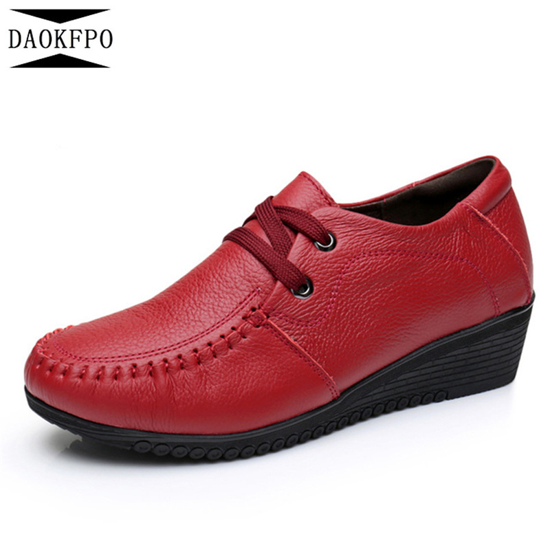 DAOKFPO Genuine leather platform shoes woman 2018 spring autumn pumps women shoes lace up high heels Wedges leather shoes NVD-18 xiaying smile woman pumps shoes women spring autumn wedges heels british style classics round toe lace up thick sole women shoes