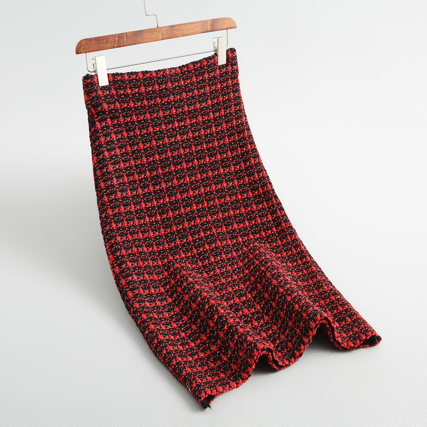 19 Spring autumn New tweed Women's skirt elegant Office Double Breasted plaid knitted Vintage Package Hip midi skirt Female 15