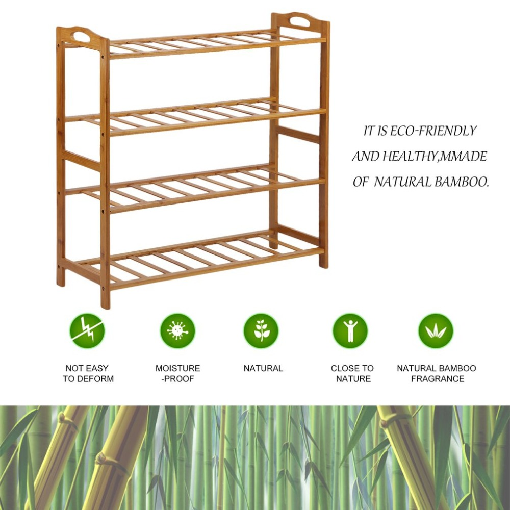 68cm Length Stable 4 Tier Bamboo Shoe Shelf Rack Stand Organizer Holder Storage Tool Exquisite Home Furniture 68cm length stable 4 tier bamboo shoe shelf rack stand organizer holder storage tool exquisite home furniture