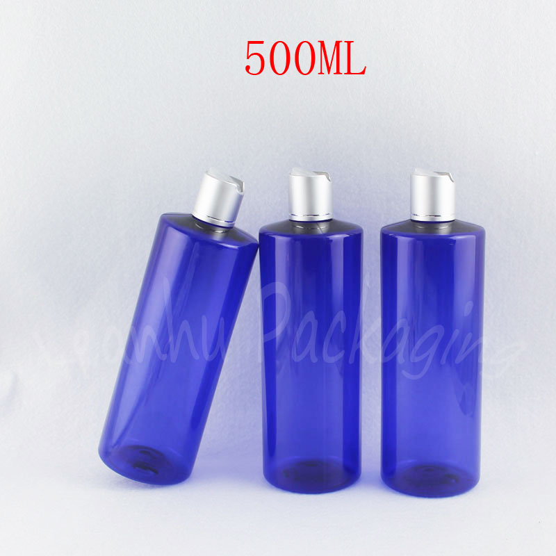 500ML Blue Flat Shoulder Plastic Bottle , 500CC Empty Cosmetic Container , Shower Gel  Lotion Packaging Bottle ( 15 PCLot )
