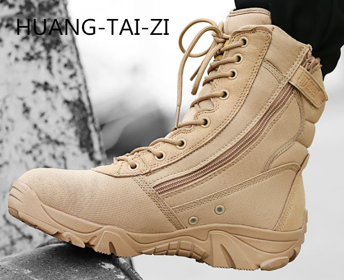 New 2018 Good quality Military boots Summer super bot light asker combat boots mens breathable tactical desert boots work shoes ...