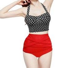 Super sell womens Summer Polka Dots print high waisted swimwear retro bikini Top + Bandage Bottom Swimsuit
