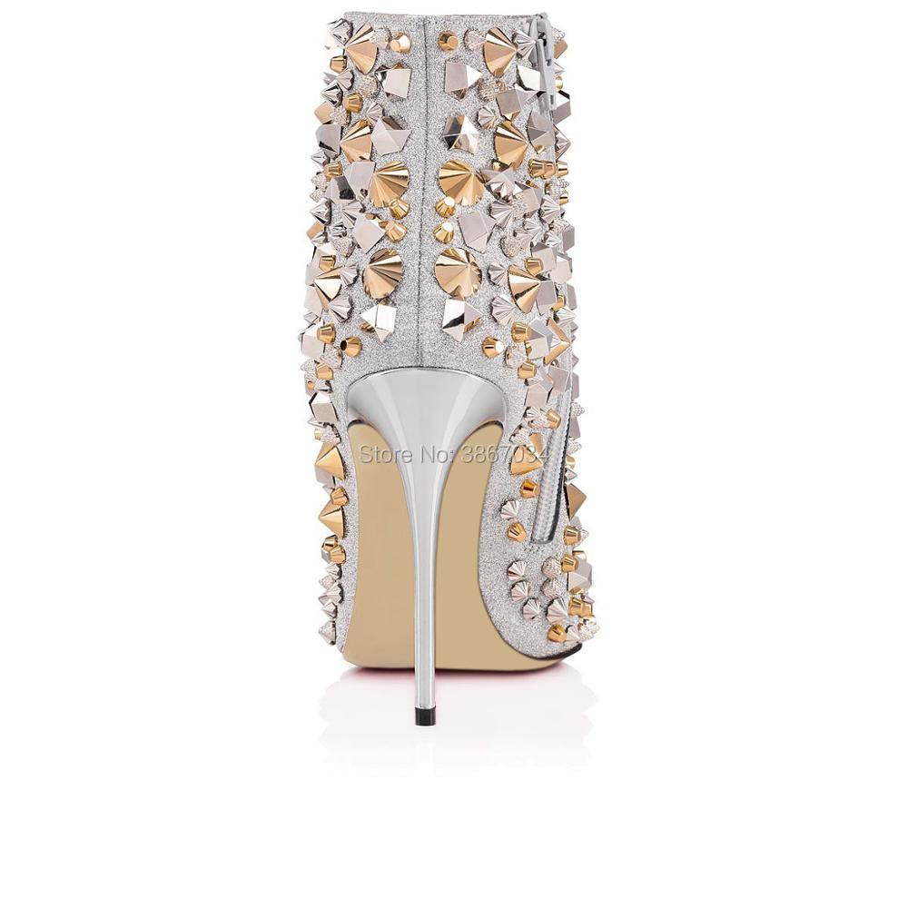 Alti Scarpe Stivaletti Mujer Borchie Moda Punta Botas Rivetti Tacchi 2018 Zip Tendenze Della A Bling Shooegle Glitter Spikes Spillo w7S4Aq4x8