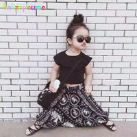 Babzapleume Summer Style Korean Kids Clothes Fashion Black T Shirt Pants Baby Girls Suit Boutique Children