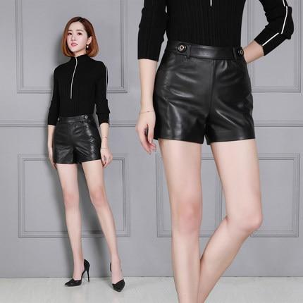 2019 New Sheepskin High Waist Wide Leg Shorts KS34
