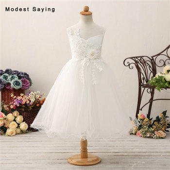 Romantic Ivory Ball Gown Floral Beaded Lace Flower Girl Dresses 2018 with Bow Kids Girls Puffy Pageant Garden Party Prom Gowns