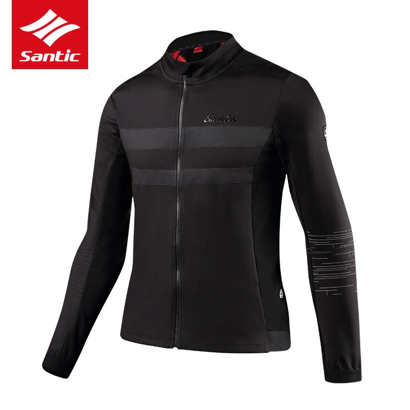 Santic Cycling Jacket Men Winter Windproof Water Repellent Long Sleeve Thermal Fleece Bike Jacket Bicycle Clothing Ropa Ciclismo santic women fleece cycling jerseys bicycle long sleeve windproof warm bike jacket thermal hiking spring autumn clothing