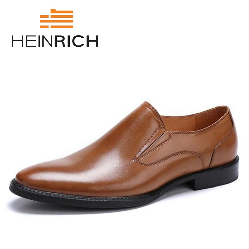 HEINRICH Brand Fashion Men Dress Shoes Slip-On Genuine Leather Mens Shoes Wedding Comfortable Male Shoes Sandalia MasculinaHEINRICH Brand Fashion Men Dress Shoes Slip-On Genuine Leather Mens Shoes Wedding Comfortable Male Shoes Sandalia Masculina