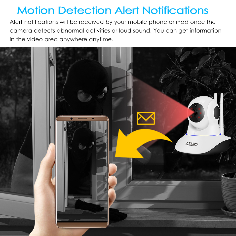 Caméra de Surveillance IP WIFI hd 1080P/720P, dispositif de sécurité domestique sans fil, avec Vision nocturne infrarouge, suivi automatique