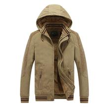 2017 New Winter Warm Jacket  Thick Fleece Solid Casual Men Coat 100% Cotton Jacket With Hoodie Outerwear Elasticity Cuff AU70336