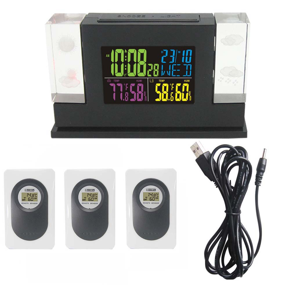 New Arrival Crystal LED Weather Station with Backlight Indoor Outdoor Temperature Humidity Alarm Clock Free Shipping