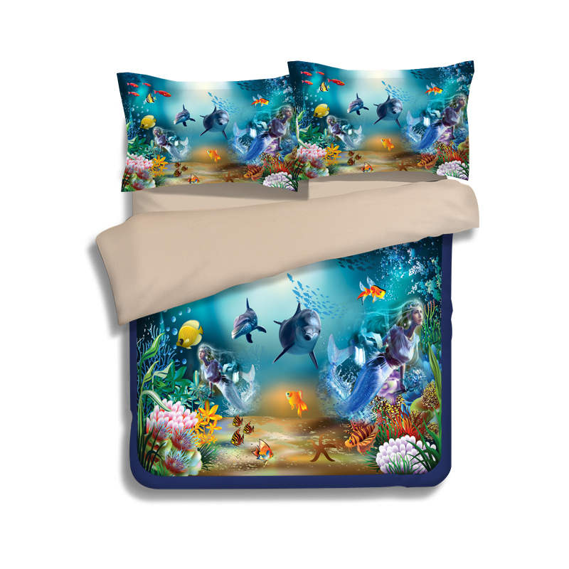 Bleu sous-marin monde poisson imprimé couette ensembles de literie double reine roi taille housse de couette 3pc enfants maison Textile draps