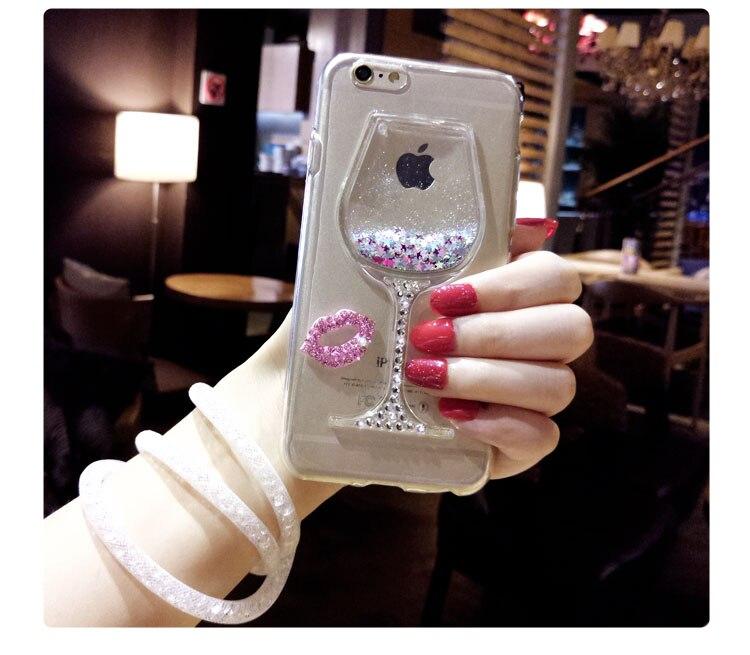 Pour xiaomi téléphone cas redmi note 4/3/2 3D Quicksand Strass vin En Verre Motif Téléphone Cas avec Corde de Coup Pour xiaomi 5/3pro/4 p