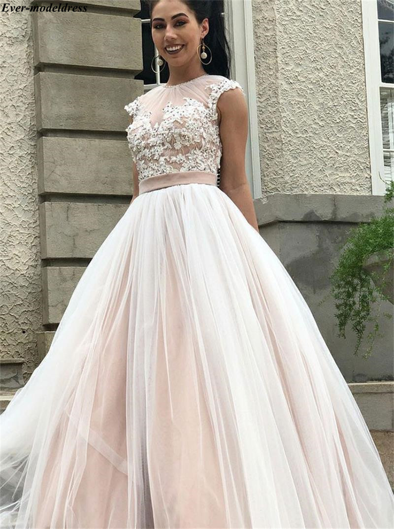 Realistic Charming Robe Mariage O-neck Cap Sleeves Wedding Dresses Appliques Sequined Backless Bridal Gowns Plus Size Vestido Novia Playa