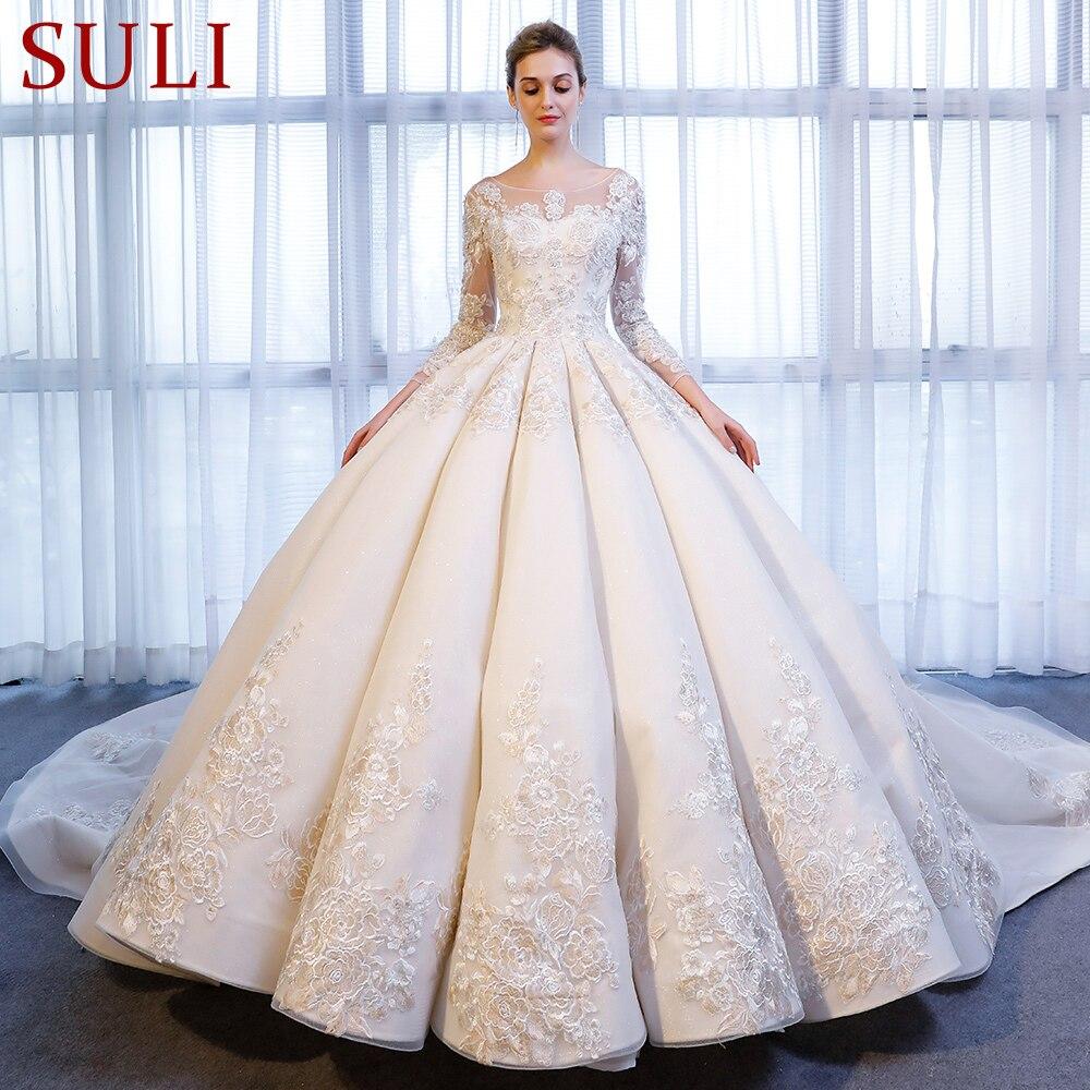 SL-337 Роскошные Кружева Аппликация спинки Кристалл длинным рукавом свадебное платье 2018