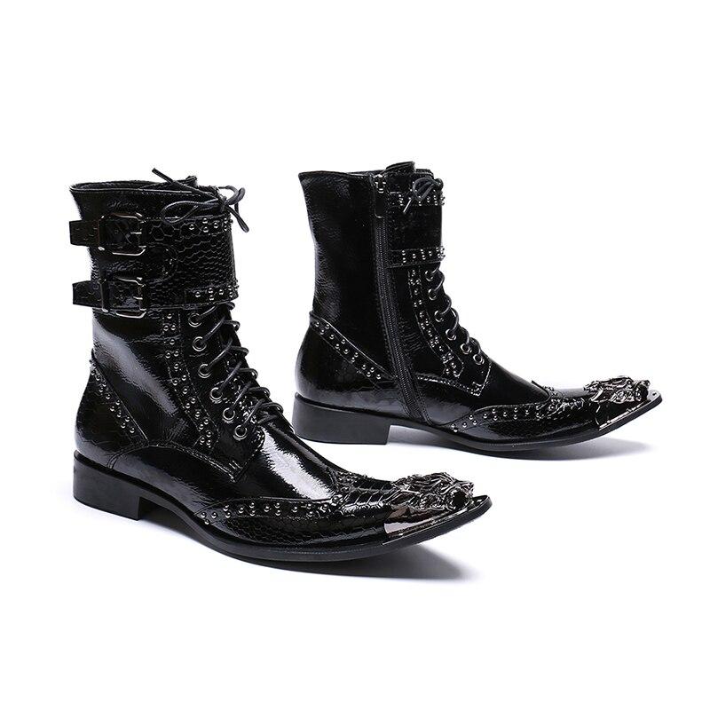 127c38cd Hebilla Zapatos Boda Dragón Cuero Patente Los Black Hombre De Occidental  Vaquero Lujo Dedos Hombres Moda Señaló Remaches Pies ...