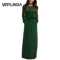 Vestlinda vintage vestidos longo jurken women maxi dress full sleeve casual dress autumn a line solid.jpg 250x250