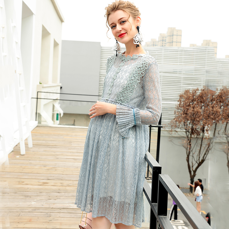 Pregnant women autumn dress fashion models 2018 new lace tide mother long skirt long sleeve temperament Korean version trendy see through off the shoulder long sleeve lace blouse for women
