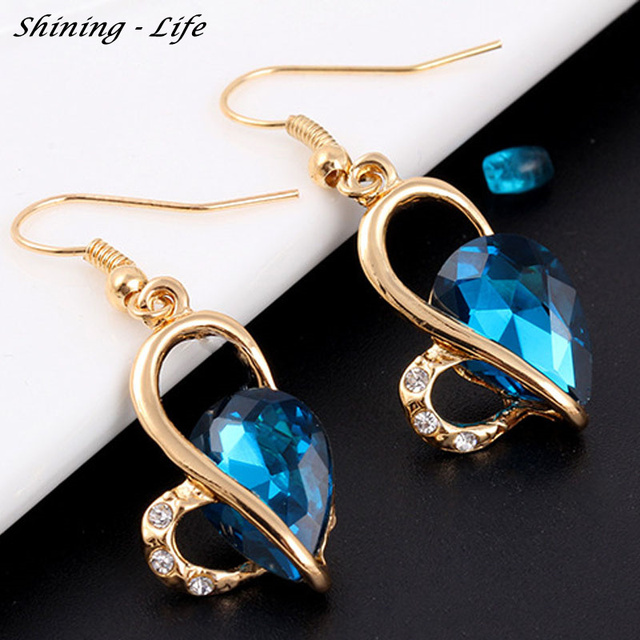 Shining-Life Brand Women Fashion Necklace Earrings Jewelry Set Crystal Heart Love Rhinestone Party Jewelry Sets For Women