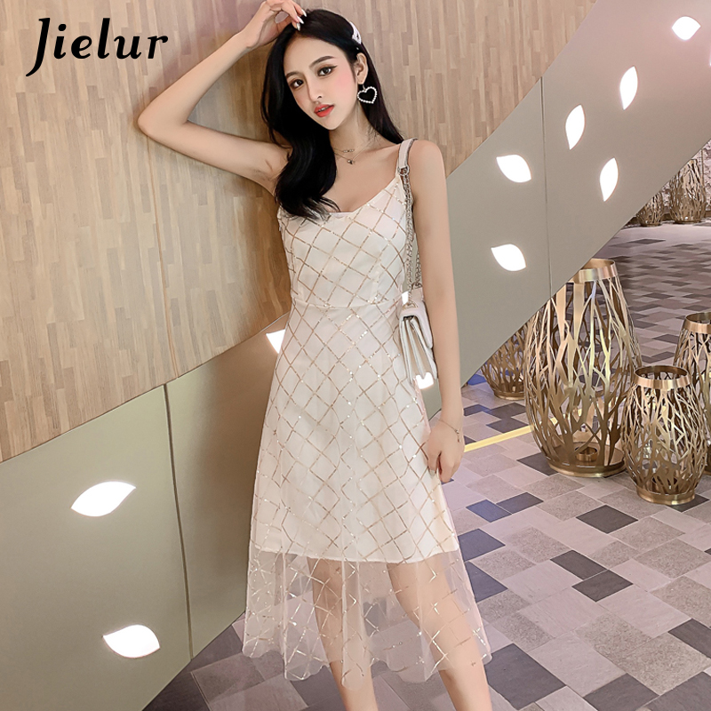 Jielur Plaid Dresses Women Mesh Sequined Patchwork Spaghetti Strap V Neck Sleeveless Ladies Dress Vintage Solid Color Sukienka