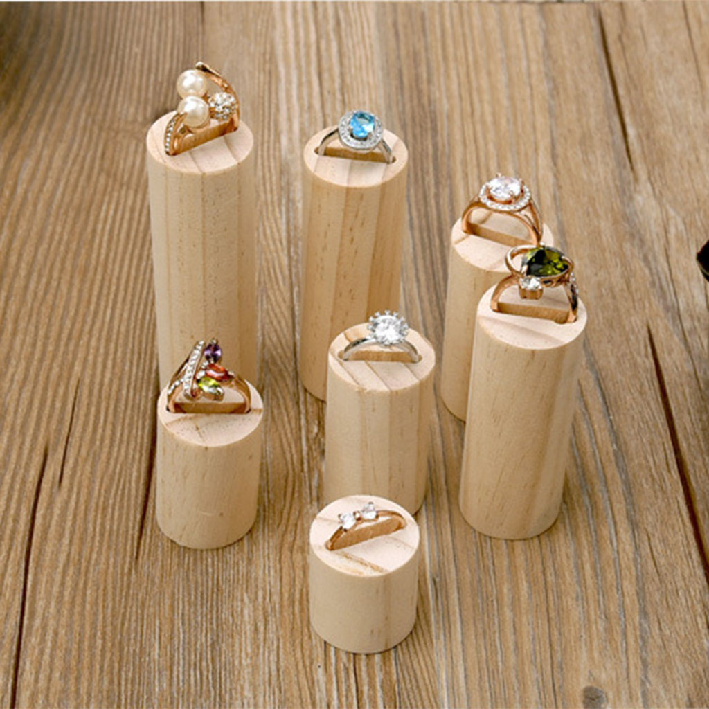 7pcs Plain Unfinished Cylinder Wooden Jewelry Display Holder Storage Ring Organizer