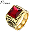 Gold Plated Retro Black Created Ruby Jewelry Male Red Garnet Men Ring Classic Medieval Style Punk Gilded Men's Titanium Rings