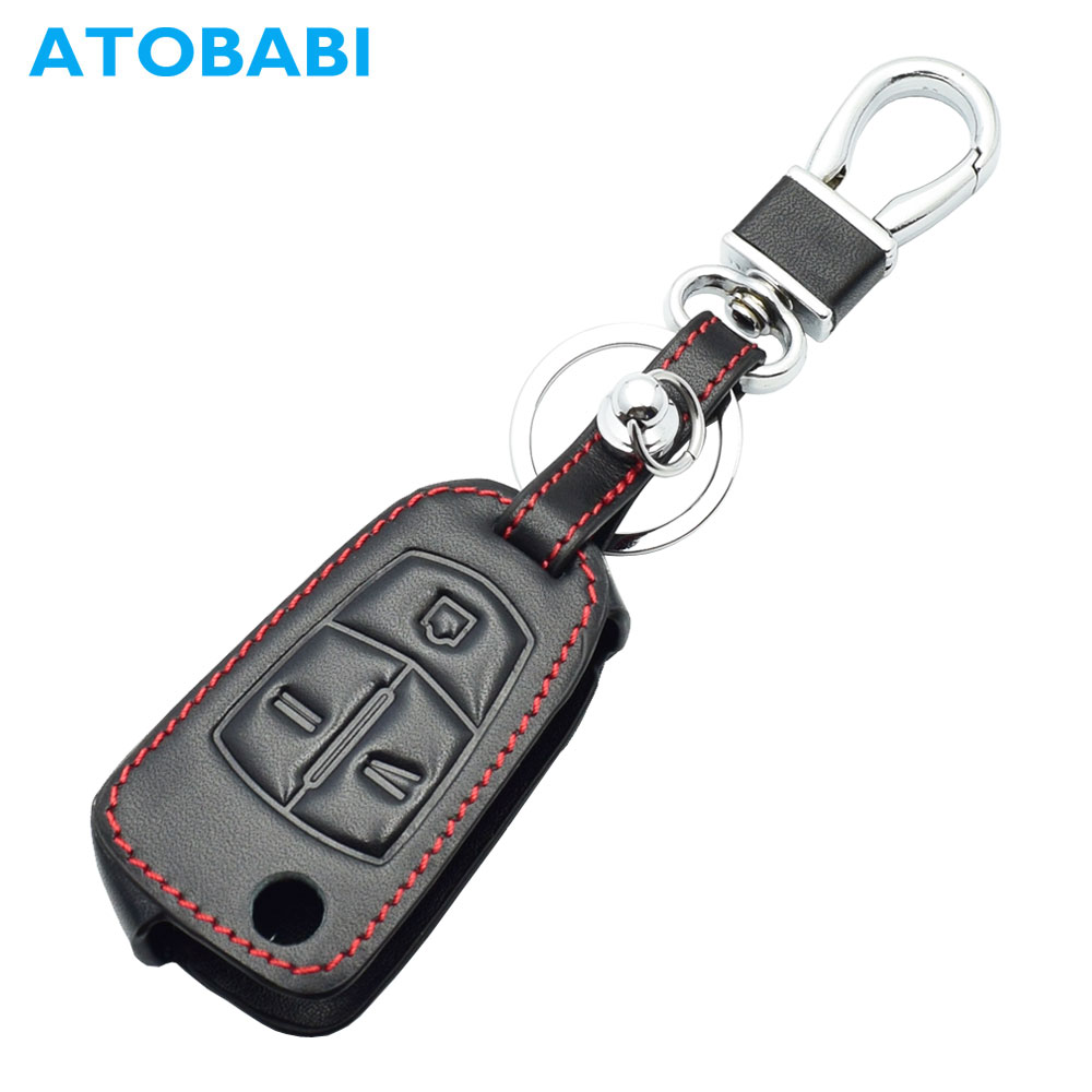 Leather Car Key Case For Opel Antara Chevrolet Captiva Folding Remote Fob Shell Cover Keychain Protector Bag Auto Accessories