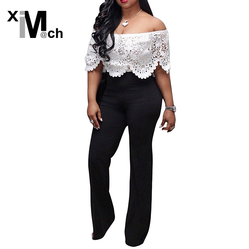 Women's Clothing Xim&m@ch New Sexy Jumpsuits White Lace Slash-neck Stretch Black Jersey Jumpsuits Jm01029f Drip-Dry