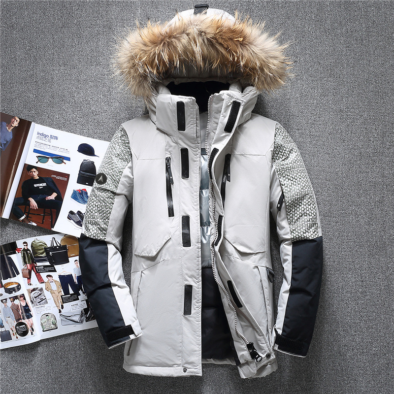 Winter Brand Fur Hooded Duck Down Jackets Men Warm High Quality Down Coats Male Casual Winter Outerwer Down Parkas