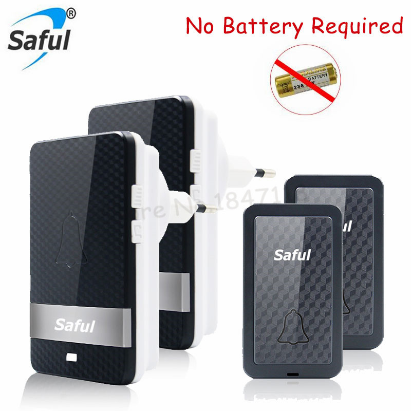 Saful Newest Self-powered Waterproof Wireless Doorbell Long Range Remote Door Bell with 2 Outdoor Transmitter+2 Indoor Receivers 2 receivers 60 buzzers wireless restaurant buzzer caller table call calling button waiter pager system